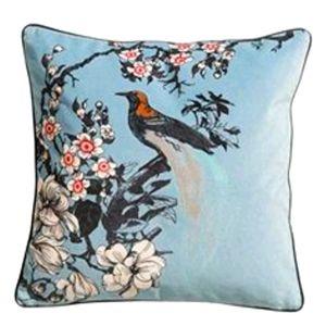 Velvet Cherry Blossom Bird Accent Pillow Cover